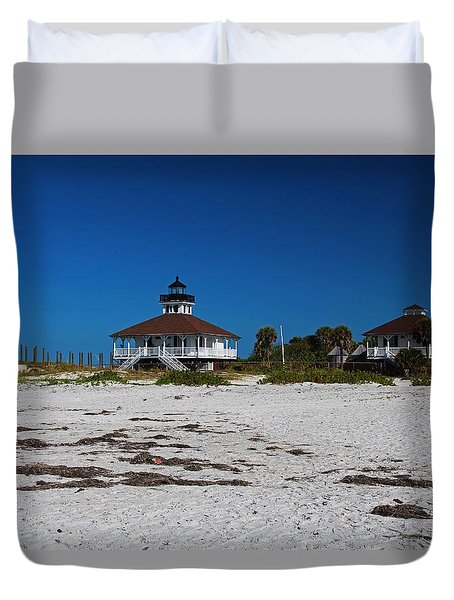 Duvet Cover featuring the photograph Boca Grande Lighthouse X by Michiale Schneider