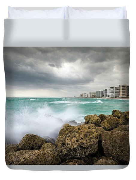 Boca Raton Florida Stormy Weather - Beach Waves Duvet Cover