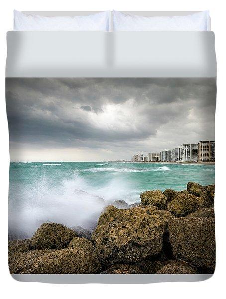 Boca Raton Florida Stormy Weather - Beach Waves Duvet Cover