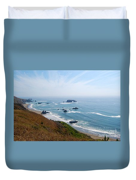 Duvet Cover featuring the photograph Bodega Bay Arched Rock by Debra Thompson