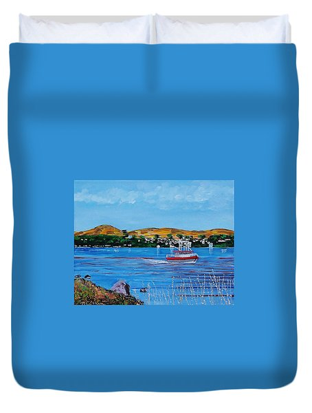 Bodega Bay From Campbell Cove Duvet Cover by Mike Caitham