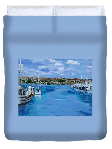 Bodega Bay From Spud Point Marina Duvet Cover by Mike Caitham