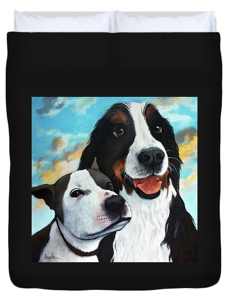 Bodhi And Lily  Pet Portrait Duvet Cover