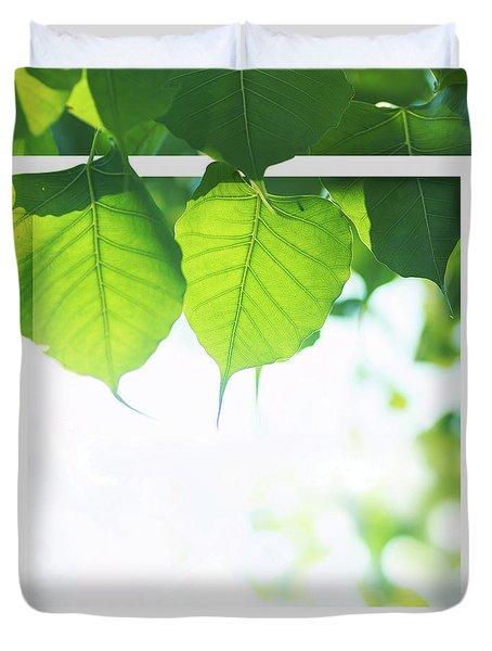 Bodhi Leaves With White Frame Duvet Cover