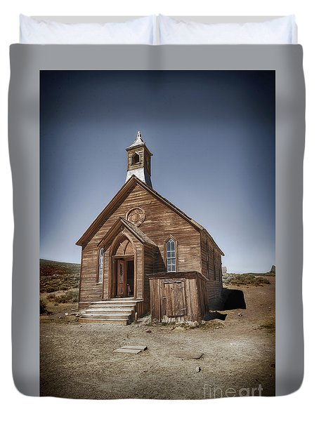 Duvet Cover featuring the photograph Bodie Church by Jim  Hatch