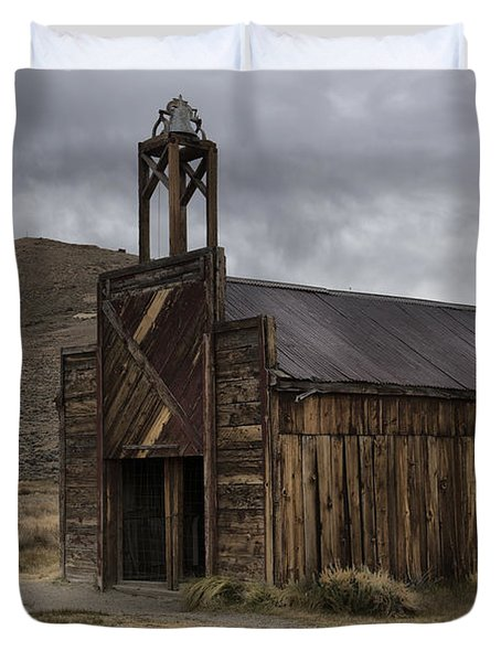 Duvet Cover featuring the photograph Bodie Fire Station With Lightning by Sandra Bronstein