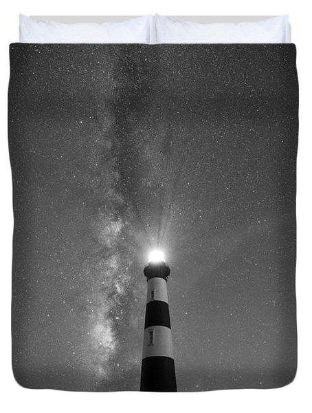 Bodie Island Light Milky Way Portrait Bw Duvet Cover