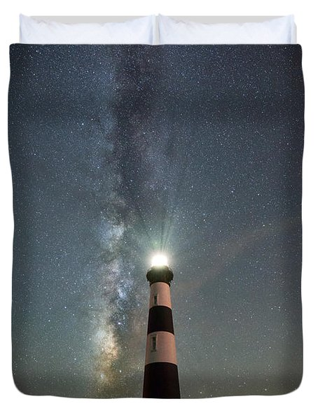 Bodie Island Light Milky Way Portrait Duvet Cover