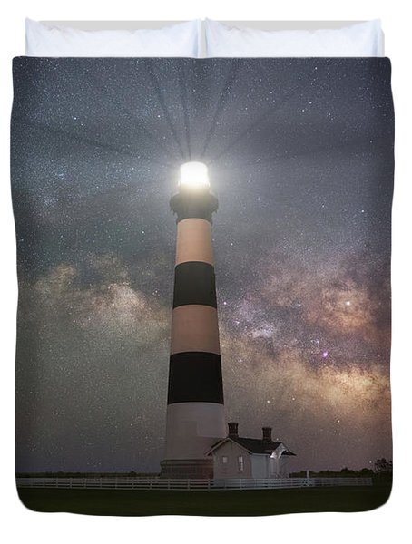 Bodie Island Lighthouse Milky Way Galaxy  Duvet Cover
