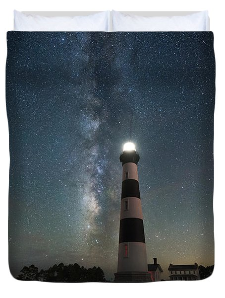 Bodie Island Lighthouse Milky Way Duvet Cover