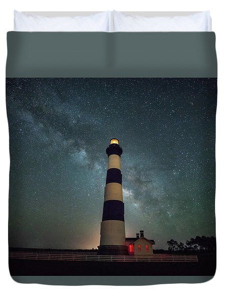 Bodie Lighthouse And Milky Way Duvet Cover