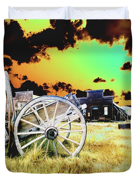 Duvet Cover featuring the photograph Bodie Wagon by Jim and Emily Bush