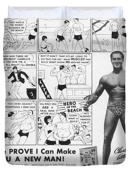 Body-building Ad, 1962 Duvet Cover