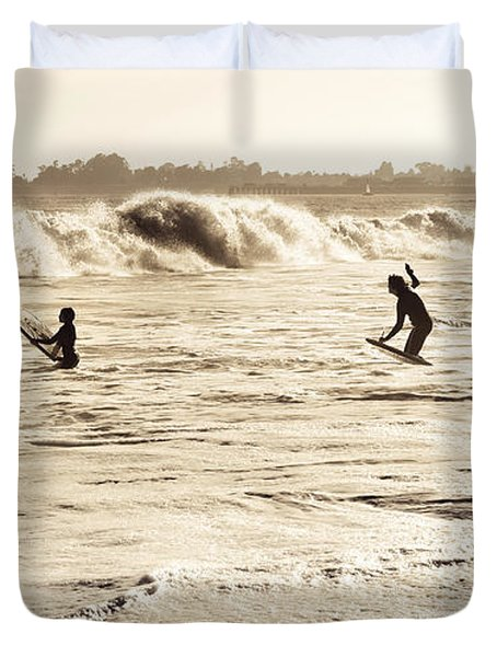 Body Surfing Family Duvet Cover by Marilyn Hunt