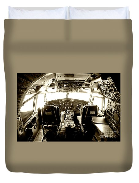 Duvet Cover featuring the photograph Boeing 747 Cockpit 21 by Micah May