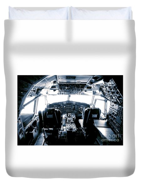 Duvet Cover featuring the photograph Boeing 747 Cockpit 22 by Micah May