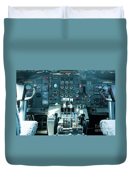 Duvet Cover featuring the photograph Boeing 747 Cockpit 23 by Micah May