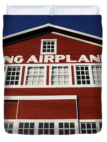 Boeing Airplane Hanger Number One Duvet Cover by David Lee Thompson