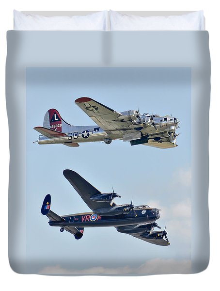 Boeing B-17g Flying Fortress And Avro Lancaster Duvet Cover