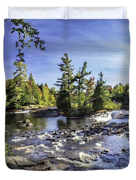 Bog River Falls Panorama Abstract 01 Duvet Cover
