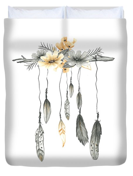 Boho Feathers Floral Branch Duvet Cover