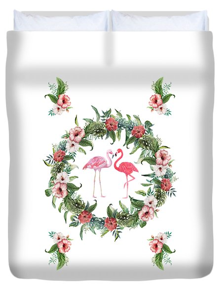 Duvet Cover featuring the digital art Boho Floral Tropical Wreath Flamingo by Georgeta Blanaru