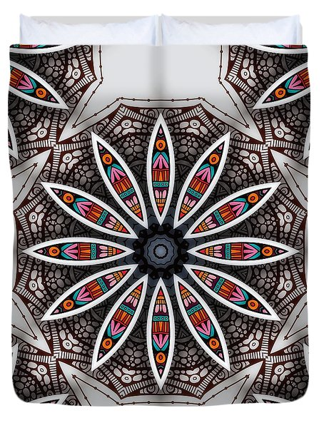 Duvet Cover featuring the digital art Boho Flower by Mo T
