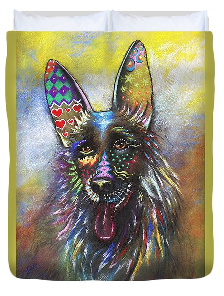 Duvet Cover featuring the mixed media German Shepherd by Patricia Lintner