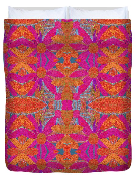 Duvet Cover featuring the painting Boho Hippie Garden - Pink by Lisa Weedn