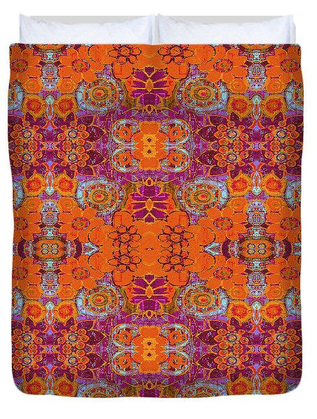 Boho Hippie Garden - Tangerine Duvet Cover by Lisa Weedn