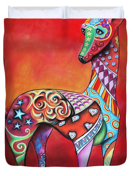 Duvet Cover featuring the mixed media Italian Greyhound  by Patricia Lintner