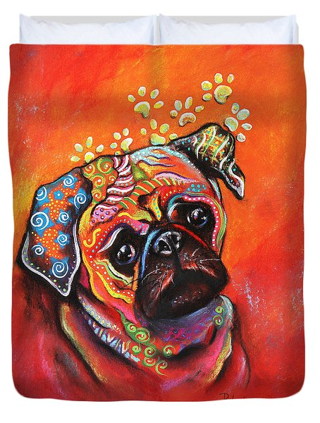 Duvet Cover featuring the mixed media Pug by Patricia Lintner