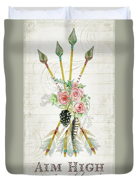 Duvet Cover featuring the painting Boho Western Arrows N Feathers W Wood Macrame Feathers And Roses Aim High by Audrey Jeanne Roberts