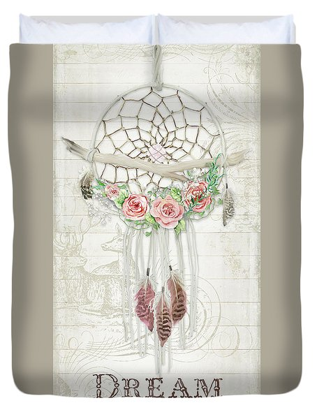 Duvet Cover featuring the painting Boho Western Dream Catcher W Wood Macrame Feathers And Roses Dream Beautiful Dreams by Audrey Jeanne Roberts