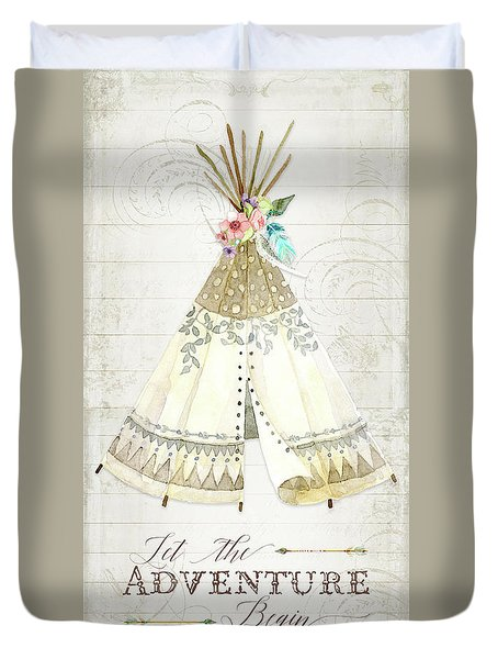 Duvet Cover featuring the painting Boho Western Teepee With Arrows N Feathers W Wood Tribal Border by Audrey Jeanne Roberts