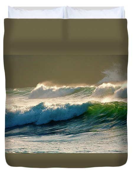 Boiler Bay Waves Rolling Duvet Cover by Mike  Dawson
