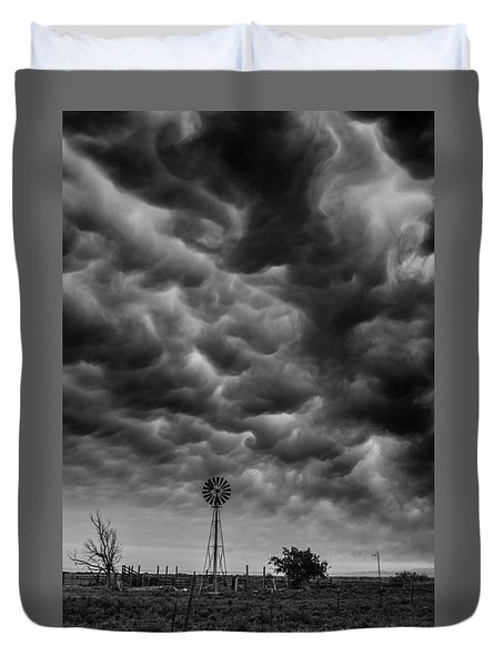 Duvet Cover featuring the photograph Boiling Sky by Karen Slagle