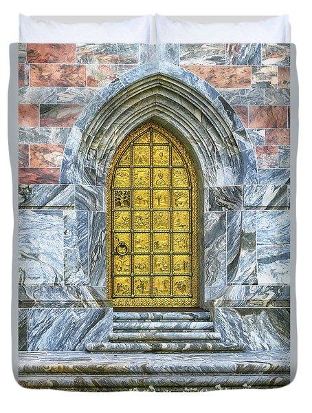 Duvet Cover featuring the photograph Bok Tower Door by Deborah Benoit
