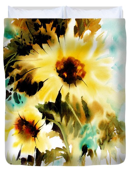 Duvet Cover featuring the painting Bold And Beautiful by Rae Andrews