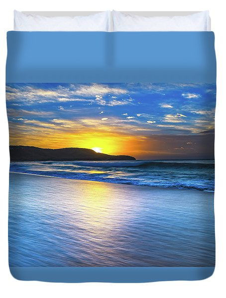 Bold And Blue Sunrise Seascape Duvet Cover