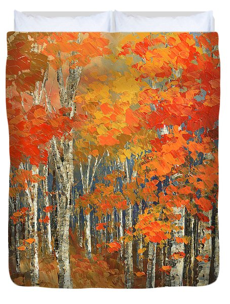 Duvet Cover featuring the painting Bold Banners by Tatiana Iliina