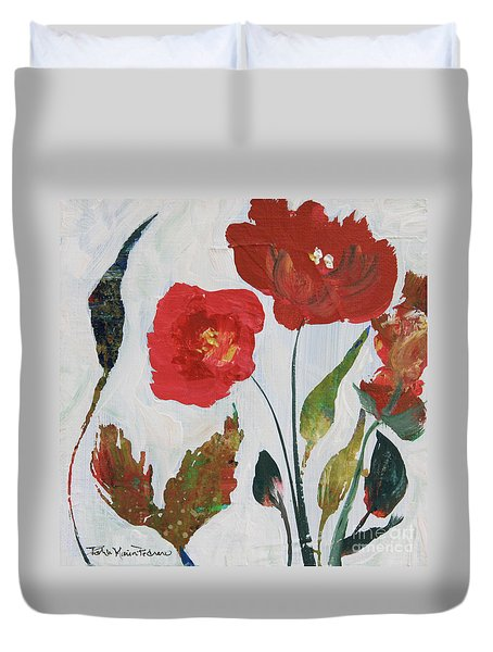 Duvet Cover featuring the painting Bold Blooms by Robin Maria Pedrero