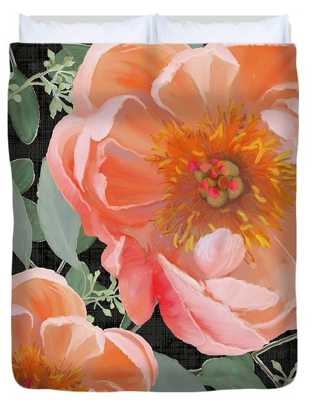 Duvet Cover featuring the painting Bold Peony Seeded Eucalyptus Leaves by Audrey Jeanne Roberts