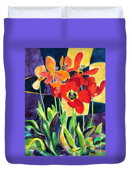 Bold Quilted Tulips Duvet Cover