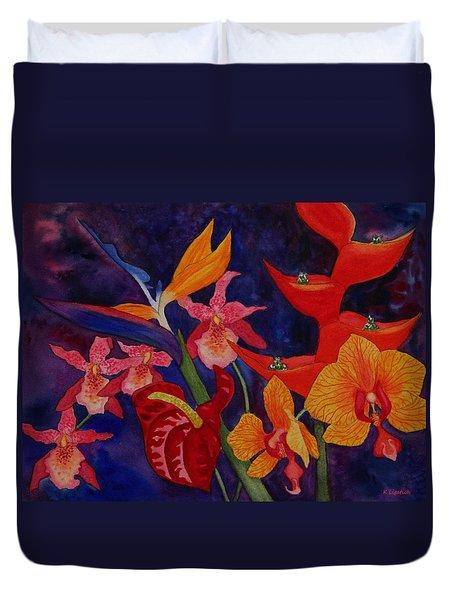 Bold Tropical Flowers Duvet Cover by Kerri Ligatich