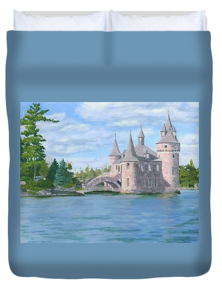 Duvet Cover featuring the painting Boldt's Power House by Lynne Reichhart