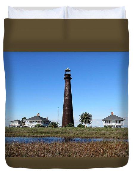 Bolivar Point Lighthouse Duvet Cover