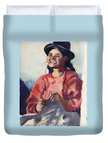 Bolivian Seamstress Duvet Cover by Gertrude Palmer