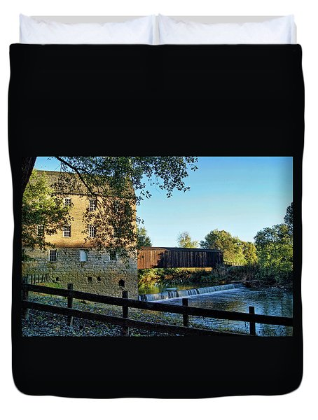 Duvet Cover featuring the photograph Bollinger Mill And Bridge by Cricket Hackmann