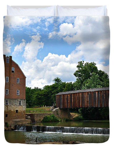 Bollinger Mill And Covered Bridge Duvet Cover by Marty Koch